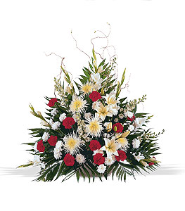 Sympathy arrangements from lanas flowers red and white flower arrangement mightylinksfo