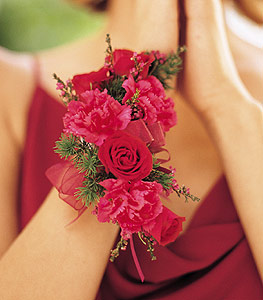 Hot Pink and Red Wrist Corsage